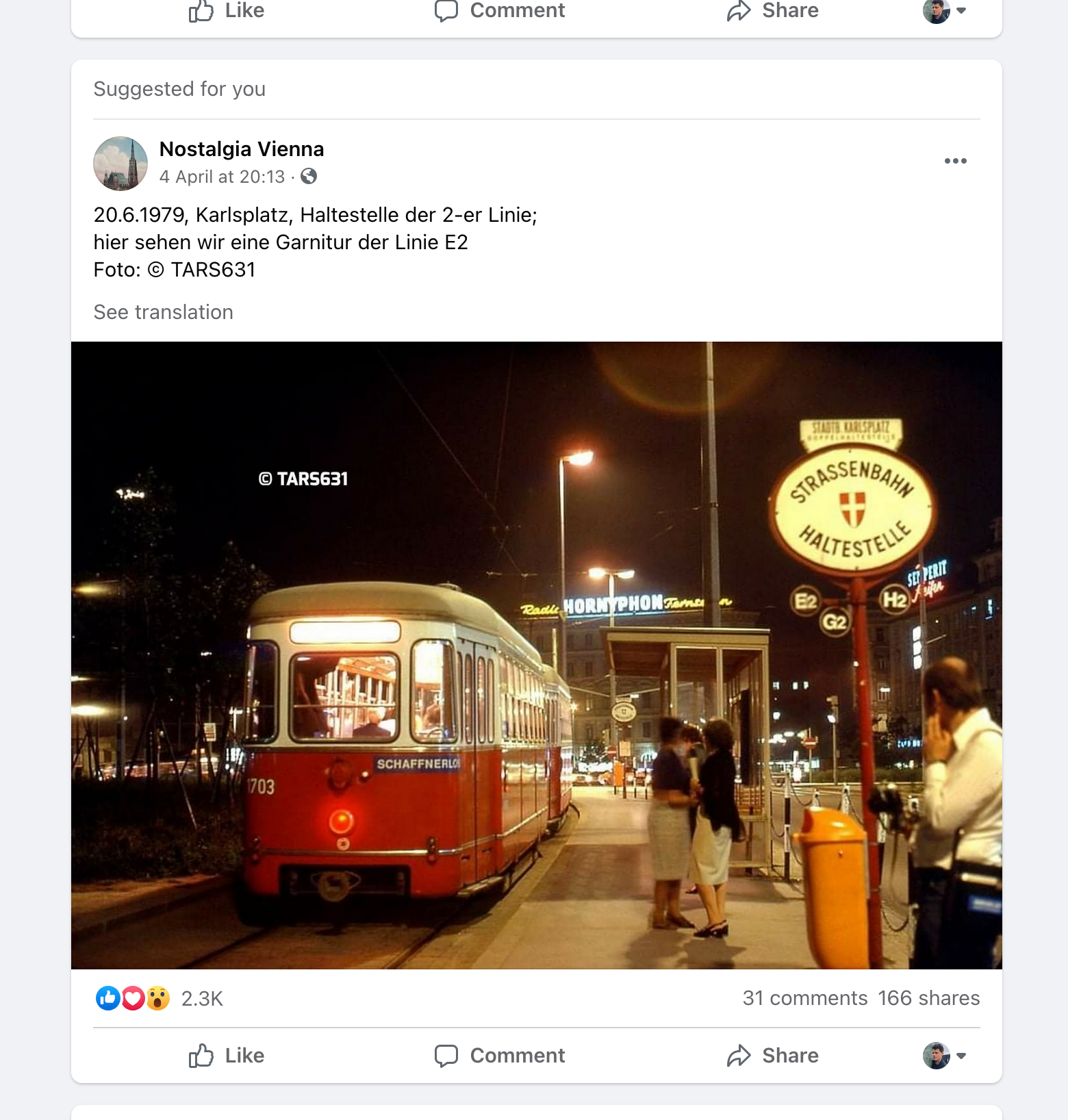 Facebook Suggested Post Tram picture